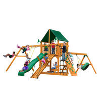 Gorilla Playsets Playground Equipment. Frontier with Amber Posts and Deluxe Green Vinyl Canopy Cedar Playset