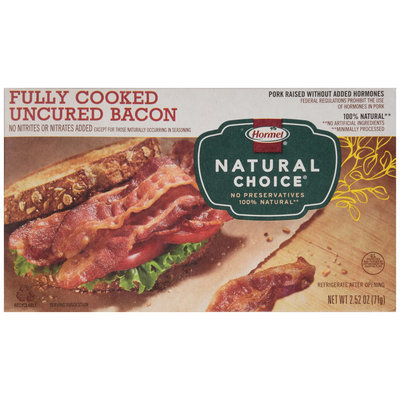 Hormel® Natural Choice® Fully Cooked Uncured Bacon 2.52 oz. Package