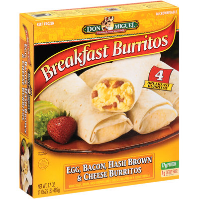 Don Miguel® Egg, Bacon, Hash Brown & Cheese Breakfast Burritos 4 ct Box