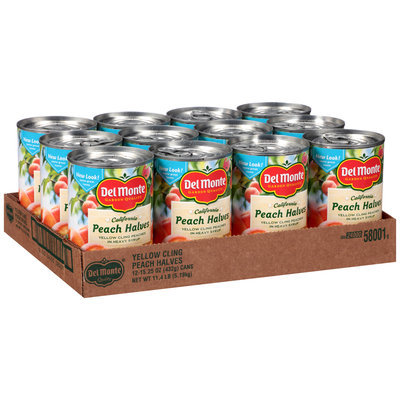 Del Monte™ California Yellow Cling Peach Halves in Heavy Syrup 12-15.25 oz. Cans