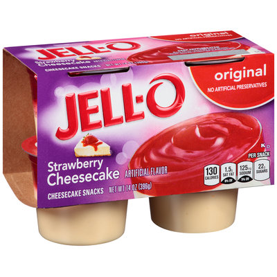 Jell-O Strawberry Cheesecake Snacks 4 ct Cups