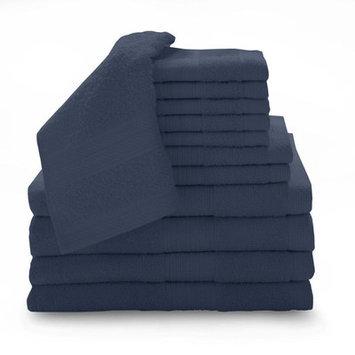 Luxury Home 12 Piece Super Plush Egyptian Cotton Towel Set, Cobalt