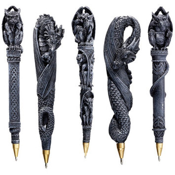 Design Toscano Gargoyles and Dragons Sculptural Pen (Set of 5)