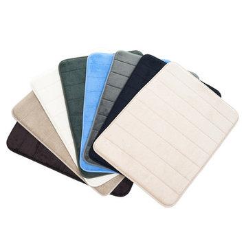 Lavish Home 2 Piece Striped Memory Foam Bath Mat Set Color: Blue