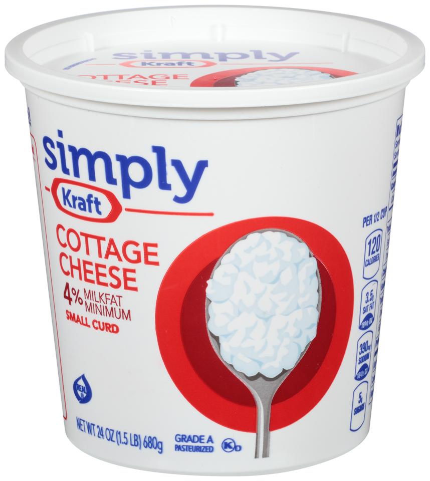 Simply Kraft Small Curd 4% Milkfat Minimum Cottage Cheese