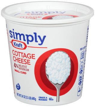 Simply Kraft Small Curd 4% Milkfat Minimum Cottage Cheese 24 oz. Tub