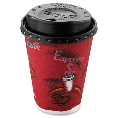 Solo Cups Bistro Hot/Cold Foam Cups with Lids, 12oz, Maroon, 300-Cup & Lids/Carton