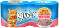 9Lives Tender Morsels with Real Salmon in Sauce Wet Cat Food, 4/5.5-Ounce Cans (Pack of 6)