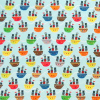 Stwd Pirate Ships Fitted Bassinet Sheet Color: Aqua