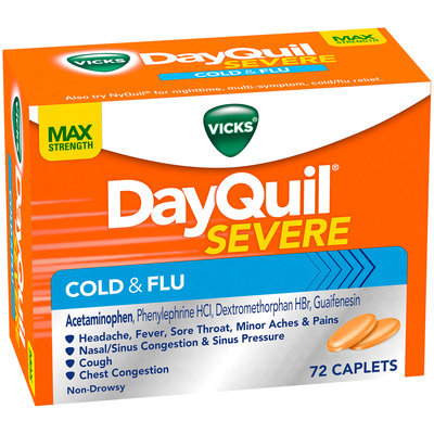 Severe Vicks DayQuil Severe Cold & Flu Relief Caplets 72 Count