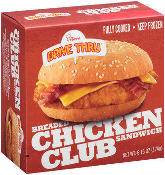 Pierre™ Drive Thru® Breaded Chicken Club Sandwich 6.16 oz. Box
