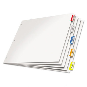 Cardinal Paper Insertable Dividers, 5-Tab, 11 x 17, White Paper/Multicolor Tabs