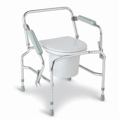 Medline Commodes Drop Arm Steel Commode - Commode, Drop Arm, Chrome