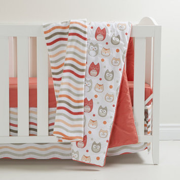 South Shore Gray and Coral Owls 3 Piece Crib Bedding Set