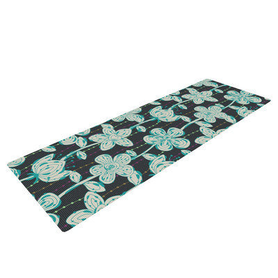 Kess Inhouse My Gray Spotted Flowers by Julia Grifol Yoga Mat