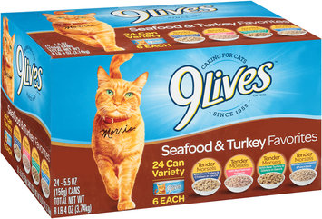 9Lives Turkey & Seafood Favorites Wet Cat Food Variety Pack, 5.5-Ounce Cans (Pack of 24)