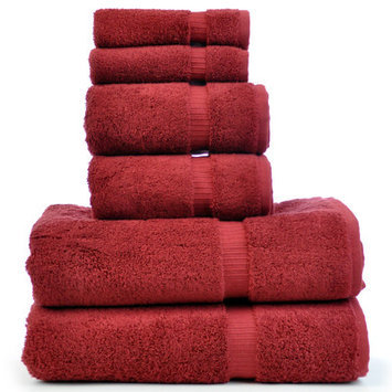 Chambray & Co. 6-Piece Turkish Cotton Towel Set Color: Cranberry