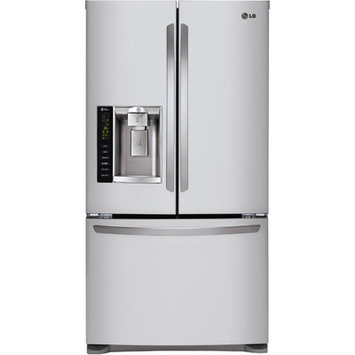 LG LFX25974ST 24.7 cu. ft. French Door Refrigerator with Spill Protector Glass Shelves, Humidity Crispers, Glide N' Serve Drawer, External Ice/Water Dispenser and LED Interior Lights: Stainless Steel