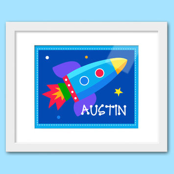 Olive Kids Out of This World Personalized Print with White Frame