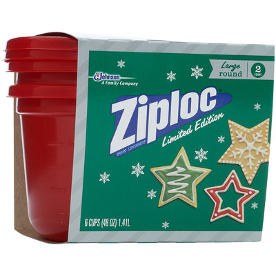 Ziploc® One Press Seal Holiday Red Large Round Containers 2 ct Sleeve