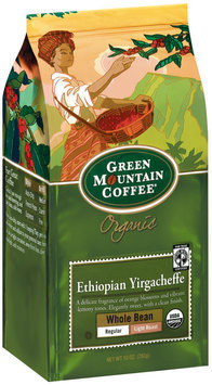 Green Mountain Coffee Roasters Whole Bean Ethiopian Yirgacheffe Regular Light Roast Organic Coffee