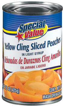 Special Value Yellow Cling Sliced In Light Syrup Peaches 15 Oz Can