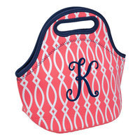 Occasionally Made Coral Geometric 'K' Insulated Lunch Bag