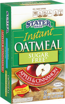 Stater Bros.® Sugar Free Apples & Cinnamon Instant Oatmeal 7.9 oz. Box 8-0.98 oz. Packets