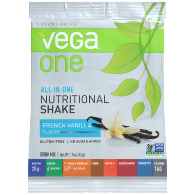 Vega™ One Plant-Based French Vanilla Flavor Nutritional Shake Drink Mix 1.4 oz. Packet