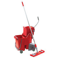 UNGER Side-Press Restroom Mop Bucket Floor Pack in Red
