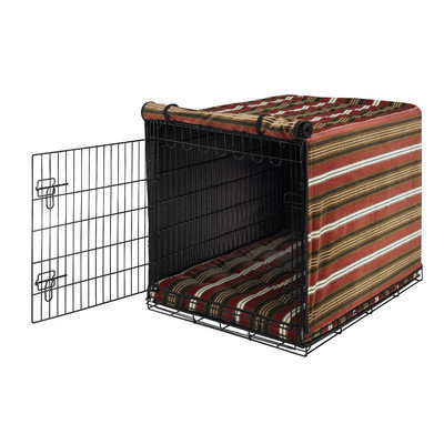 Bowsers Pet Products 10442 Small Luxury Crate Cover Bowser StripeEspresso Piping