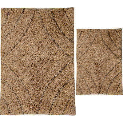 Textile Decor Castle 2 Piece 100% Cotton Diamond Spray Latex Bath Rug Set, 24 H X 18 W and 30 H X 20 W, Taupe