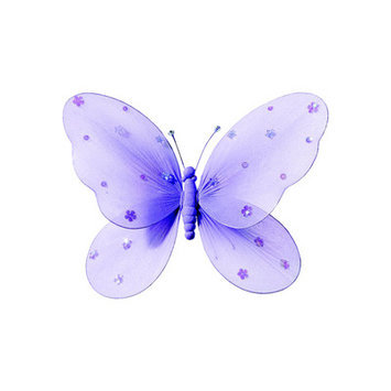 Heart To Heart Sequined Hanging Butterfly - Color: Purple, Size: Small