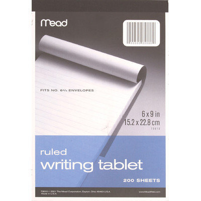 Mead Products 70610 6in X 9in Wide Ruled Writing Tablet