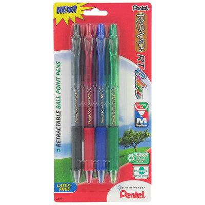 Pentel 4 Count Assorted RSVP RT Colors Retractable Ball Point Pen