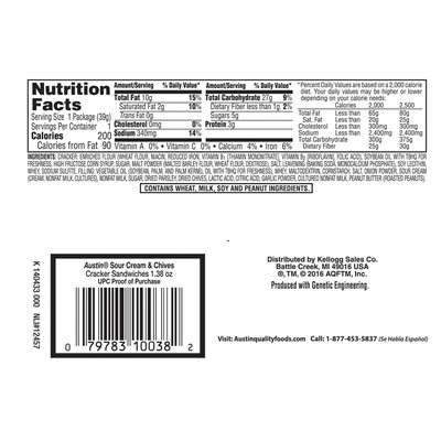 Austin® Sour Cream & Chives Cracker Sandwiches 1.38 oz. Pack