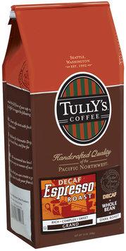 Tully's Coffee Decaf Grand Whole Bean Dark Roast Espresso Roast 12 Oz Stand Up Bag