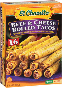 El Charrito™ Beef & Cheese Rolled Tacos 16 ct Box