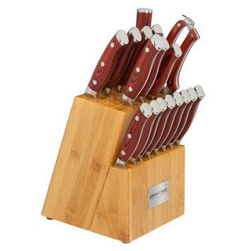 Ergo Chef Crimson Series 18 Piece Knife Block Set
