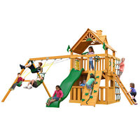 Gorilla Playsets Playground Equipment. Chateau II Clubhouse with Amber Posts Cedar Playset