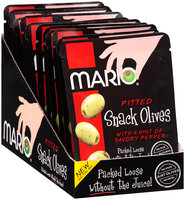 Mario® Pitted Green Snack Olives with a Hint of Savory Pepper 1.05 oz. Pouch