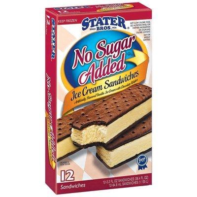 Stater Bros. No Sugar Added 3.2 Oz Ice Cream Sandwiches 12 Ct Box