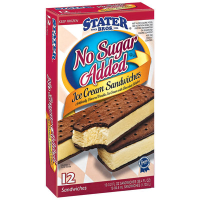 Stater Bros. No Sugar Added 3.2 Oz Ice Cream Sandwiches 12 Ct Box