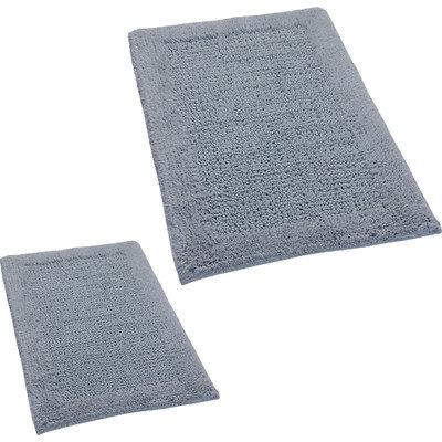 Textile Decor Castle 2 Piece 100% Cotton Naples Spray Latex Bath Rug Set, 24 H X 17 W and 40 H X 24 W, Silver
