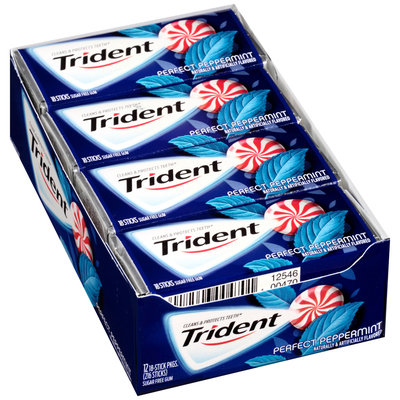 Trident Perfect Peppermint Sugar Free Gum 12-18 Stick Packs