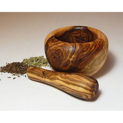 Le Souk Ceramique Olive Wood Small Mortar and Pestle