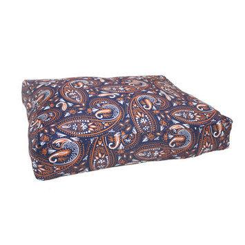 Divine Designs Mosaic Paisley Dog Bed, Medium - 36 L x 29 W, Navy Blue