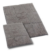 Textile Decor Castle 2 Piece 100% Cotton Chakkar Board Spray Latex Bath Rug Set, 24 H X 17 W and 40 H X 24 W