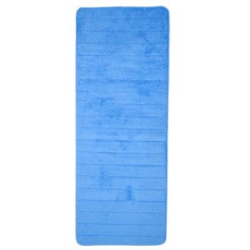 Lavish Home Extra Long Striped Memory Foam Bath Mat Color: Blue
