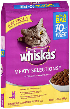 Whiskas® Meaty Selections® Chicken & Turkey Flavors Dry Cat Food 16.5 lbs.